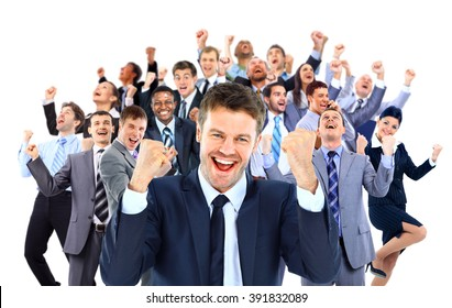 Happy business group.