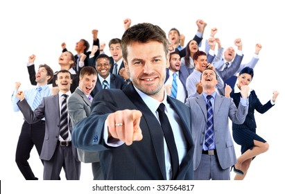 Happy business group.  leader pointing at you