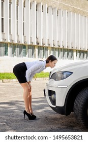 Happy business lady kissing her new car