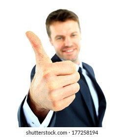happy business man going thumbs up, isolated on white