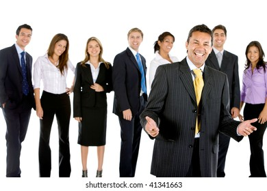 Happy business man with a group isolated over a white background