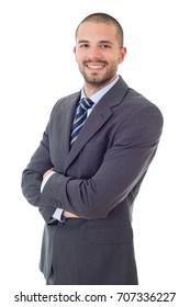 retrato de feliz hombre de negocios aislado en blanco
