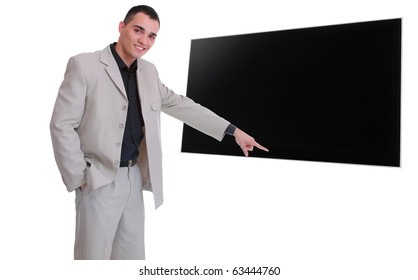 Happy business man presenting and showing on flat screen TV with copy space for your text isolated on white background