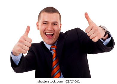 Happy business man showing his thumbs up with smile