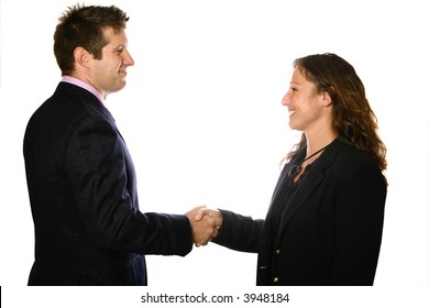 Happy business man and woman shaking hands, isolated on white.