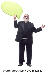 happy business man with a yellow speech bubble .
