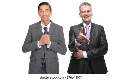 Happy business men posing
