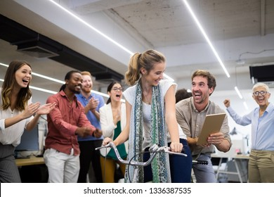 Happy business people are having fun in a modern office. Happy team concept.