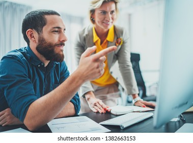 Happy Business people meeting concept.Blurred background.Horizontal