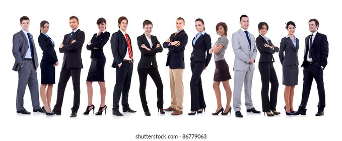 happy business team, isolated on white background