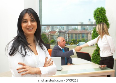 happy business team in a modern office