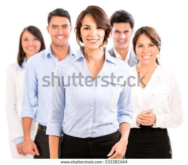 Fröhliches Geschäftsteam lächelt - einzeln auf weißem Hintergrund