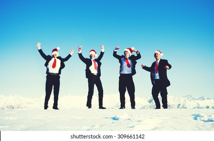 Happy Business in Wintertime Christmas Concept
