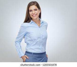 Happy business woman isolated studio professional portrait.