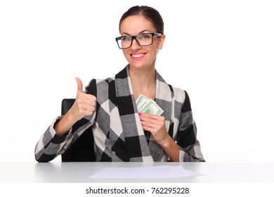 Happy business woman with the money of salary