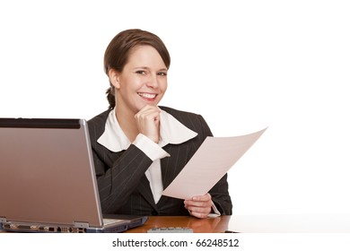 happy  business woman in office holding a contract. Isolated on white background.