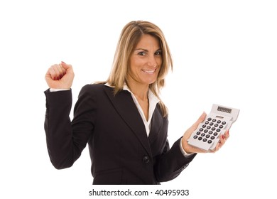 Happy business woman showing a calculator