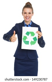 Happy business woman showing recycle sign and thumbs up
