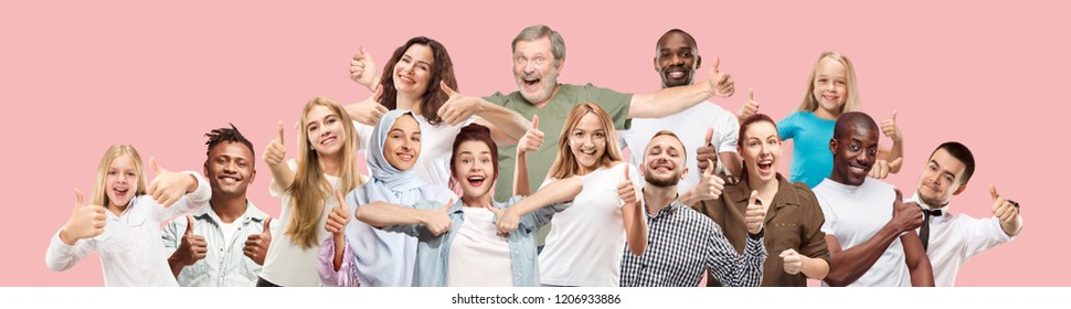 Happy business women and men with sign ok smiling isolated on trendy pink studio background. Beautiful half-length portrait. Emotional people. Human emotions, facial expression concept. Collage