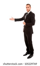 Happy businessman with arm out in a welcoming gesture , isolated on white background