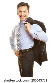 Happy businessman carrying his jacket over the shoulder