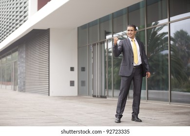 Happy businessman celebrating his success
