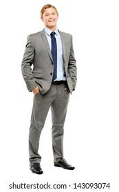 Happy businessman celebrating success isolated on white background