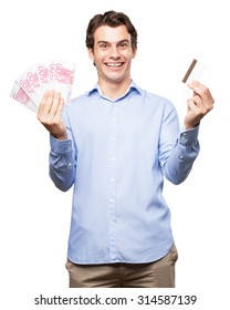 happy businessman with credit card