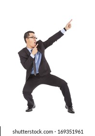 happy businessman dancing  a funny gesture