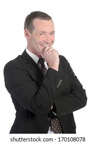 happy businessman in front of white background