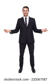 Happy businessman with his open hands on white background