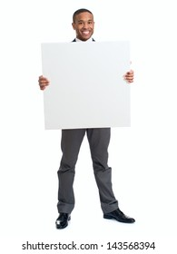 Happy Businessman Holding Blank Placard Over White Background