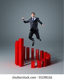 happy businessman jump over circle 3d graph stat
