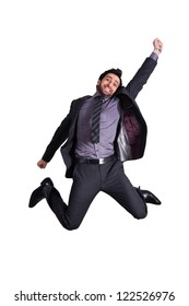 happy businessman jumping in the air in excitement, successful businessman jumping in the air against whit background