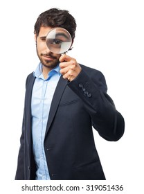 happy businessman with magnifying glass