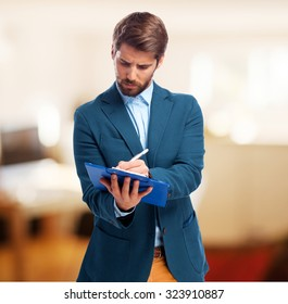 happy businessman with notebook