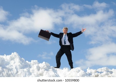 Happy Businessman On A Summit
