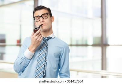 happy businessman with pipe