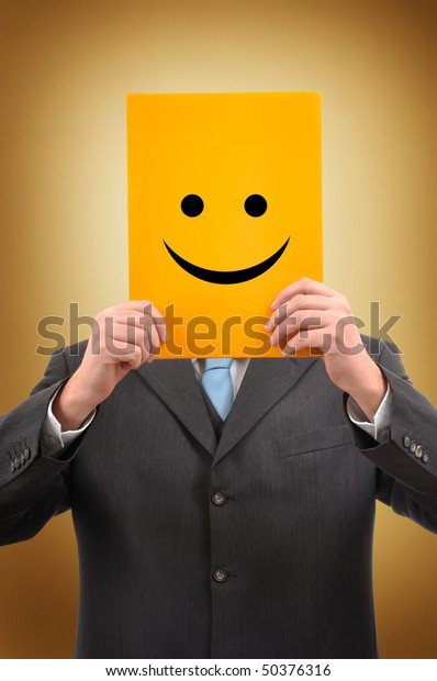 Happy Businessman and Politician with Positive Attitude Holding Yellow Paper with Happy Smiley Emoticon Face