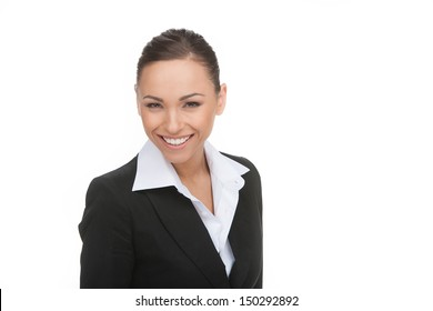 Happy businessman. Portrait of young businessman smiling while isolated on white