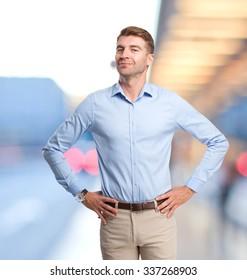 happy businessman proud pose