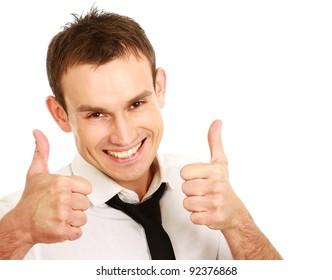 A happy businessman showing ok, isolated on white background