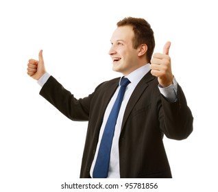 A happy businessman showing ok, side-view