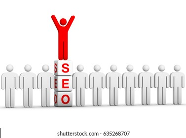 Happy businessman standing on top of dices with SEO word. 3D illustration on white background. Personal digital marketing concept.