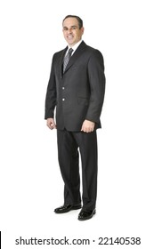 Happy businessman in a suit isolated on white background