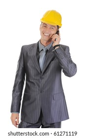 Happy businessman talking on the phone. Isolated on white background
