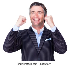 Happy Businessman throwing up his arms in the air in celebration isolated on a white background