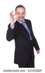 Happy Businessman With Thumbs Up Isolated On White Background