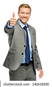 Happy businessman thumbs up sign on white background