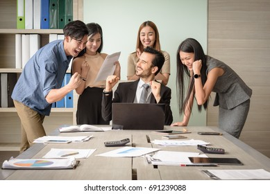 happy businesspeople, man and woman, after signing agreement, Achievement, congratulation and appreciation concept, selective focus